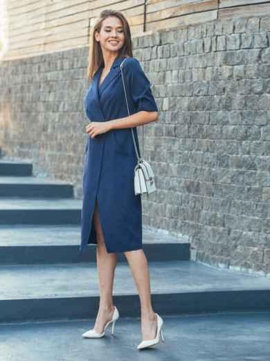 Тёмно-синее платье с высоким разрезом спереди - 16908, фото 2 – интернет-магазин Dressa