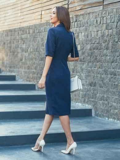 Тёмно-синее платье с высоким разрезом спереди - 16908, фото 3 – интернет-магазин Dressa