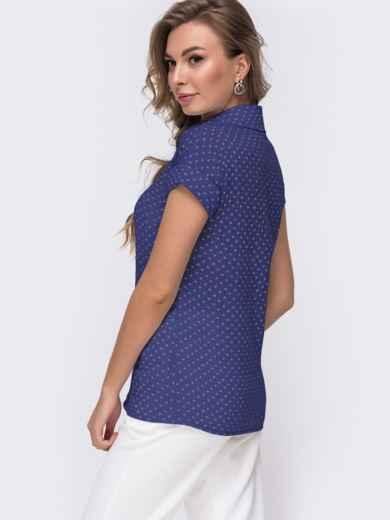 Темно-синяя блузка приталенного кроя с принтом 49776, фото 2