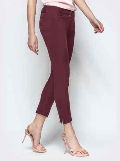 Укороченные брюки-дудочки бордового цвета - 21867, фото 2 – интернет-магазин Dressa