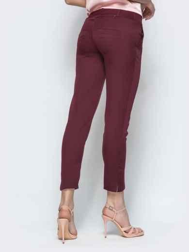 Укороченные брюки-дудочки бордового цвета - 21867, фото 3 – интернет-магазин Dressa
