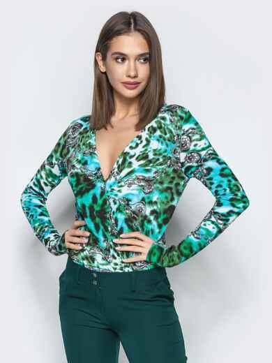Зеленый боди с авторским принтом и V-вырезом - 22351, фото 1 – интернет-магазин Dressa