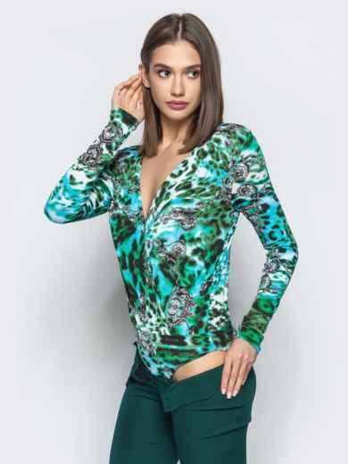 Зеленый боди с авторским принтом и V-вырезом - 22351, фото 2 – интернет-магазин Dressa
