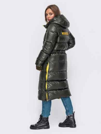 Зимняя куртка цвета хаки с трикотажными манжетами 51055, фото 3