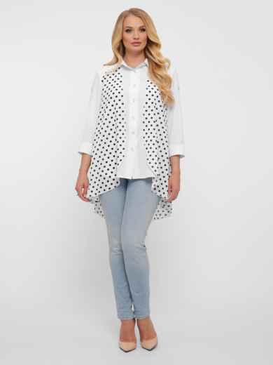 Белая блузка батал с удлинённой спинкой из шифона в горошек 48429, фото 1