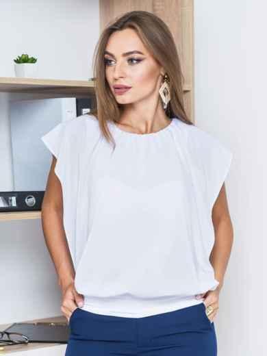 Белая однотонная двухслойная блузка с широким манжетом по низу   - 14089, фото 2 – интернет-магазин Dressa