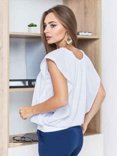 Белая однотонная двухслойная блузка с широким манжетом по низу   - 14089, фото 3 – интернет-магазин Dressa