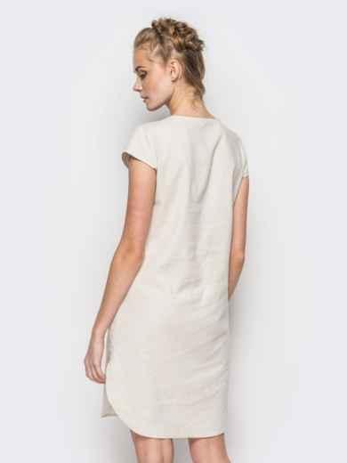 Бежевое платье из натуральной ткани с оригинальной вышивкой - 12522, фото 2 – интернет-магазин Dressa