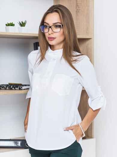 Блузка с удлиненной спинкой и накладными карманами на груди   - 14090, фото 1 – интернет-магазин Dressa