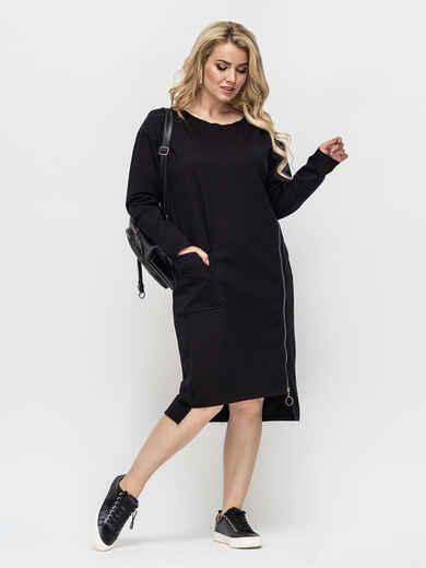 Черное платье на молнии с удлиненной спинкой 51228, фото 1