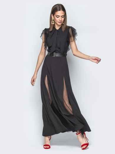 """Чёрное платье с воротником аскот с рукавом """"крылышко"""" 21730, фото 2"""