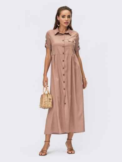 Бежевое платье-рубашка длины макси из облегченного джинса 54349, фото 1