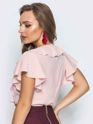 Легкая блузка с завязками и оборкой на горловине пудровая - 13262, фото 2 – интернет-магазин Dressa