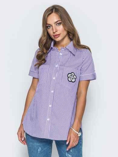 Рубашка в полоску с нашивкой на кармане - 14576, фото 1 – интернет-магазин Dressa