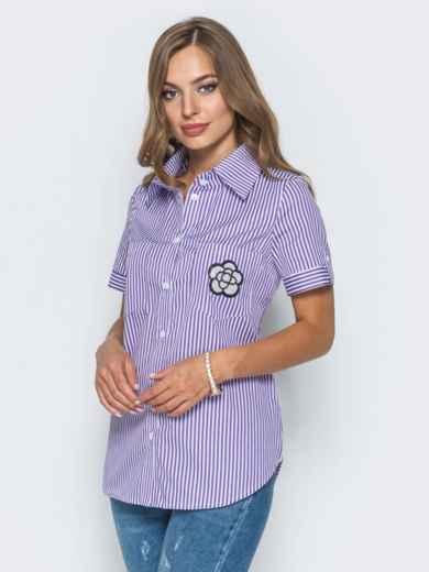 Рубашка в полоску с нашивкой на кармане - 14576, фото 2 – интернет-магазин Dressa