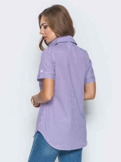 Рубашка в полоску с нашивкой на кармане - 14576, фото 3 – интернет-магазин Dressa