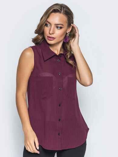 Шифоновая рубашка с накладными карманами бордовая 14579, фото 1