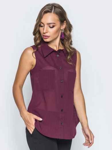 Шифоновая рубашка с накладными карманами бордовая 14579, фото 2