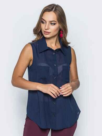 Шифоновая рубашка с накладными карманами тёмно-синяя 14578, фото 1