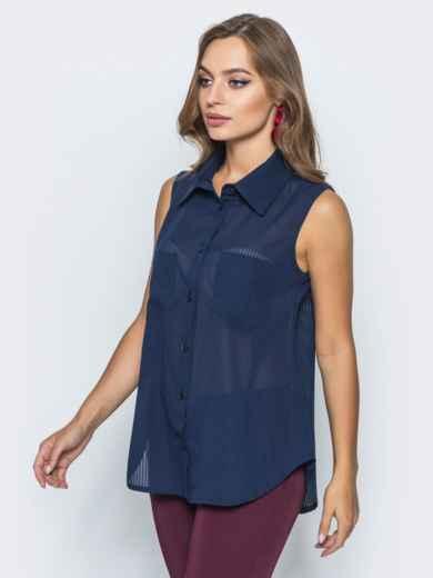 Шифоновая рубашка с накладными карманами тёмно-синяя 14578, фото 2