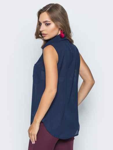 Шифоновая рубашка с накладными карманами тёмно-синяя 14578, фото 3