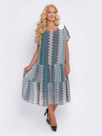 Синее платье с принтом и заниженной талией - 28467, фото 1 – интернет-магазин Dressa
