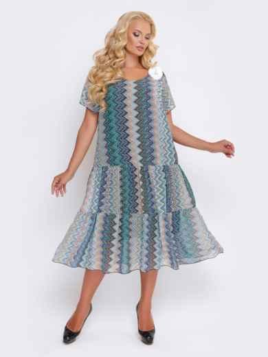 Синее платье с принтом и заниженной талией - 28467, фото 2 – интернет-магазин Dressa