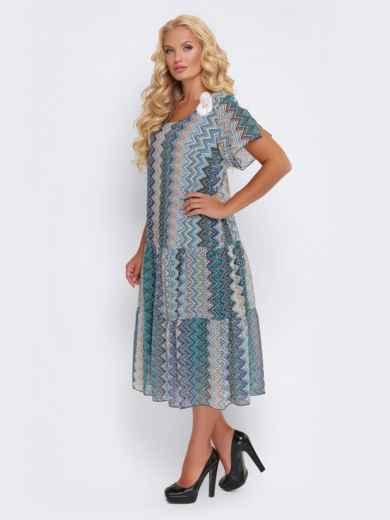 Синее платье с принтом и заниженной талией - 28467, фото 3 – интернет-магазин Dressa