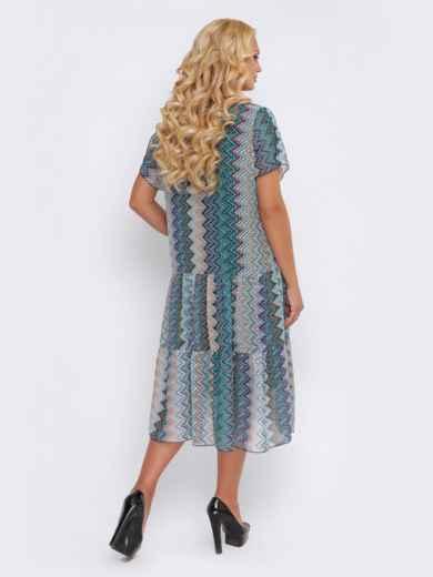 Синее платье с принтом и заниженной талией - 28467, фото 4 – интернет-магазин Dressa