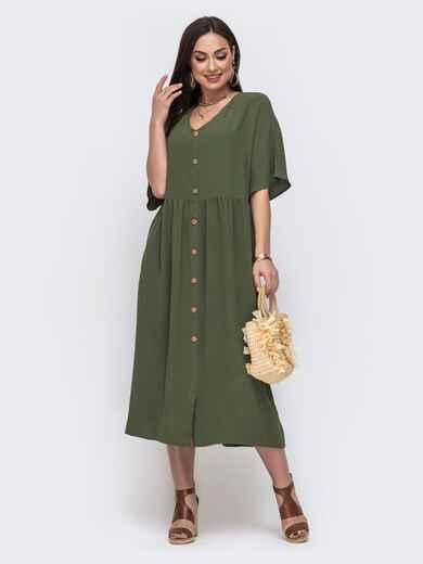 Свободное платье батал с цельнокроеным рукавом хаки 46041, фото 1