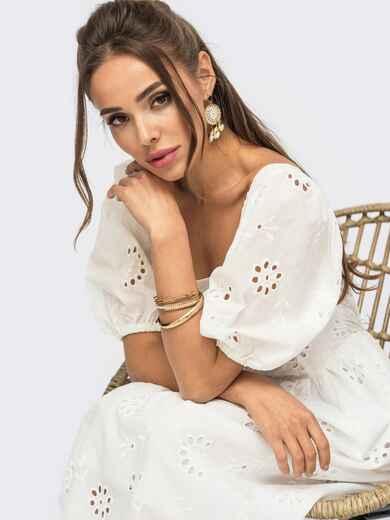 Белое платье из прошвы с рукавами-буфами 53922, фото 1