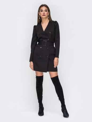 Платье-пиджак чёрного цвета с широким поясом 42220, фото 1