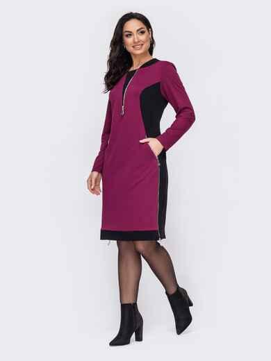 Фиолетовое платье батал приталенного кроя с контрастными вставками 52718, фото 1
