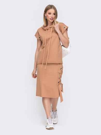 Комплект и кофты с капюшоном и юбки белый 45796, фото 1