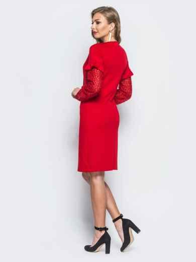 """Платье красного цвета с """"травкой"""" на рукавах - 17963, фото 2 – интернет-магазин Dressa"""