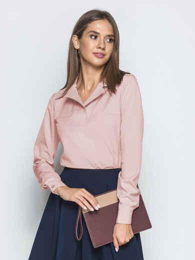 Пудровая блузка из софта с отложным воротником 49327, фото 1