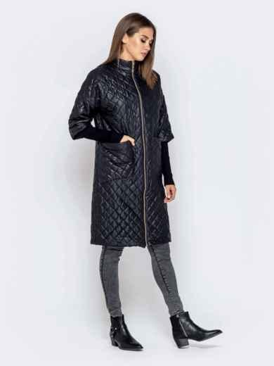 Стёганая куртка черного цвета с накладными карманами 40193, фото 2
