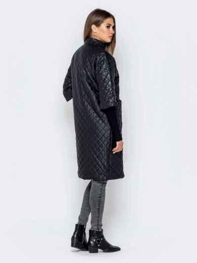 Стёганая куртка черного цвета с накладными карманами 40193, фото 3