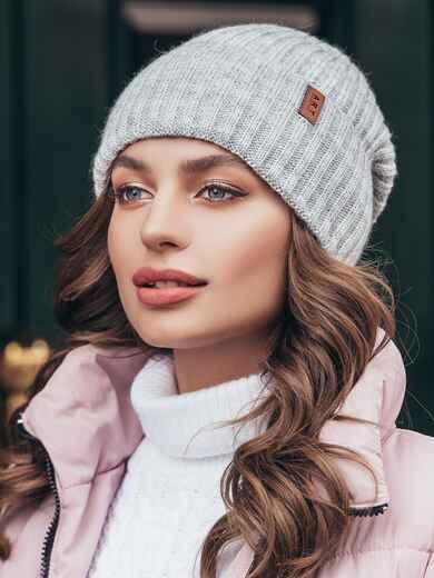 Зимняя шапка с отворотом светло-серого цвета 40527, фото 1