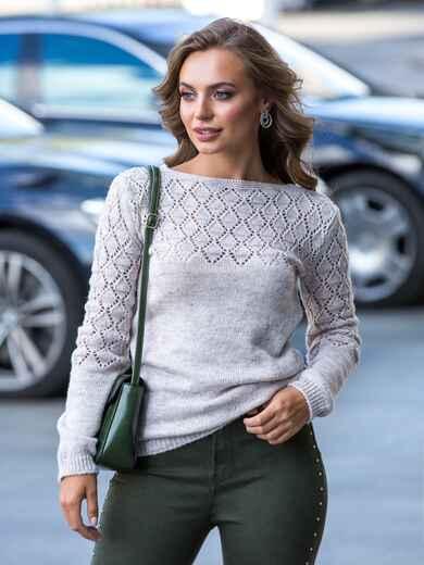 Бежевый свитер с ажурной вязкой по кокетке 41171, фото 1