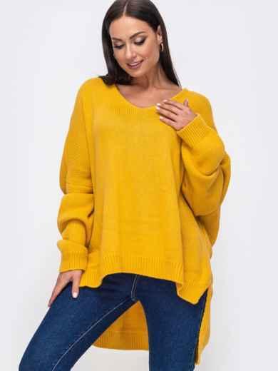Oversize свитер большого размера с V-образным вырезом жёлтый 54285, фото 1