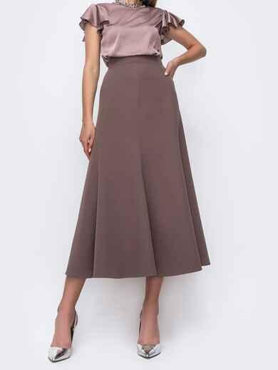 Коричневая юбка-миди в классическом стиле из костюмной ткани 49601, фото 1