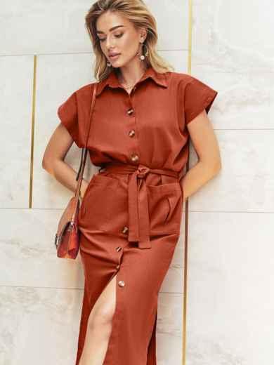 Льняное терракотовое платье-рубашка с разрезами по бокам 11129, фото 1