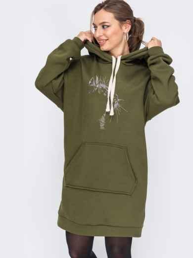 Платье-туника с капюшоном и карманом-кенгуру хаки 51608, фото 2