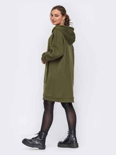 Платье-туника с капюшоном и карманом-кенгуру хаки 51608, фото 3