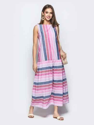 Платье в широкую полоску с заниженной талией красное 21931, фото 1