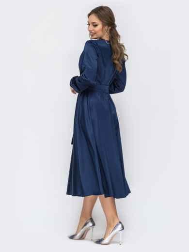 Тёмно-синее платье с лифом на запах 44157, фото 2