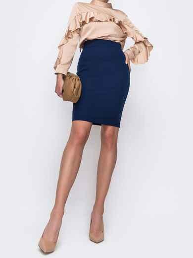 Тёмно-синяя юбка-мини в классическом стиле 49599, фото 1