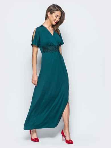 Трикотажное платье с высоким разрезом зелёное - 17910, фото 2 –  интернет-магазин Dressa 770ff1cac88