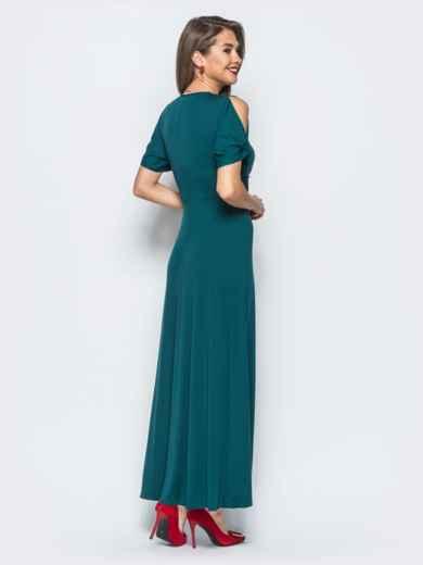 Трикотажное платье с высоким разрезом зелёное - 17910, фото 3 –  интернет-магазин Dressa 4507e897922